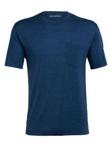 Icebreaker Nature Dye Drayden SS Pocket Crewe T-Shirt Herren blau