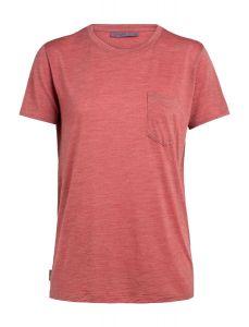 Icebreaker Nature Dye Drayden SS Pocket Crewe T-Shirt Damen rot