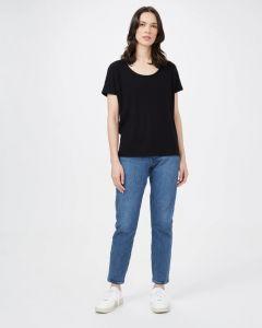 Tentree Ribbed Scoop Neck T-Shirt Damen schwarz